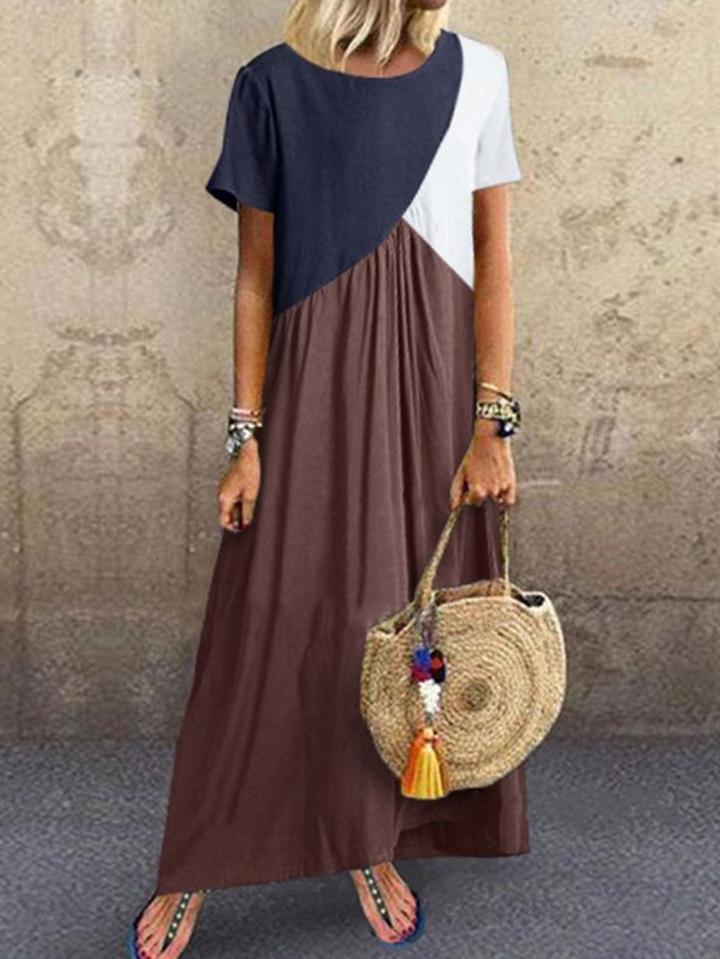 Color Block Splice Paneled Short Sleeve Maxi Dress