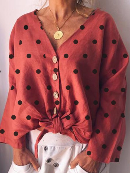 Polka Dots Long Sleeve Blouse