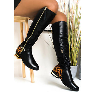 Round Toe Leopard/Black Chic Boots