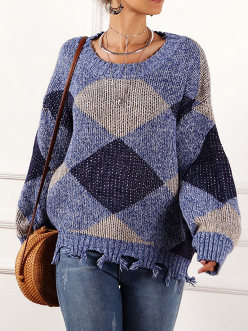 Geometric Pattern Casual Long Sleeve Knitted Pullover
