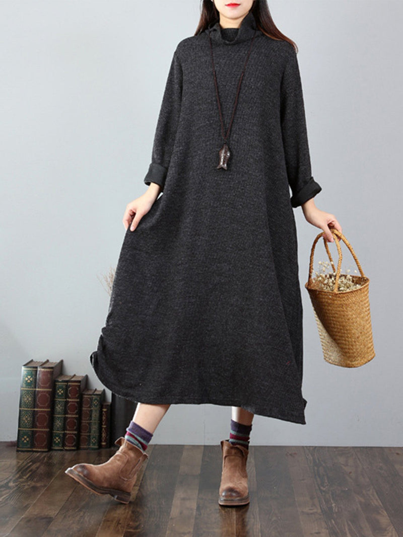 Color Collision Lining Turtle Neck A-Line Casual Midi Dress