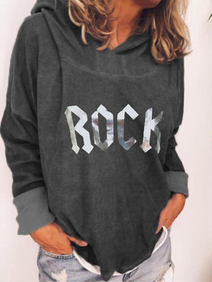 Rock Letter Print Hooded Long-Sleeved Sweatshirt
