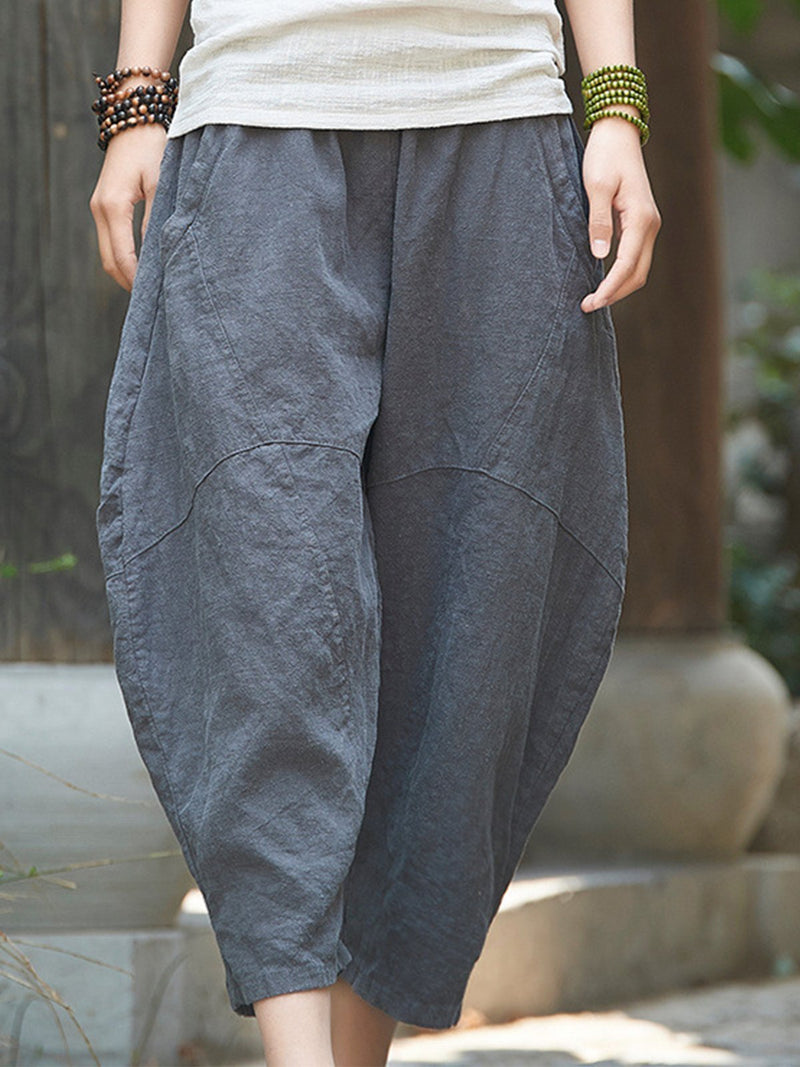 Paneled Wide Hip Crop Length Linen Bloomer Pants