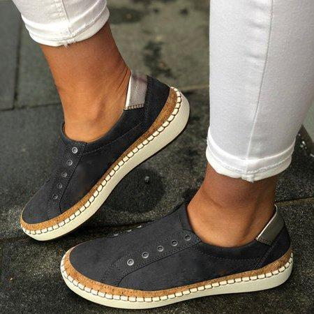 Non Lace Flat Well-Ventilated Women Flat Heels Sneakers