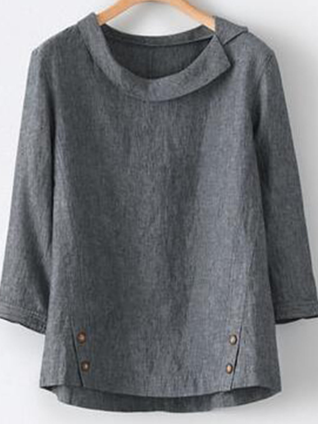 Solid Casual Round Neck Decorative Button Long-Sleeved Blouse