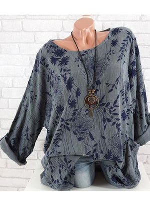 Round Neck Cotton/Linen Printed Long Sleeve Batwing Sleeve Women T-shirt