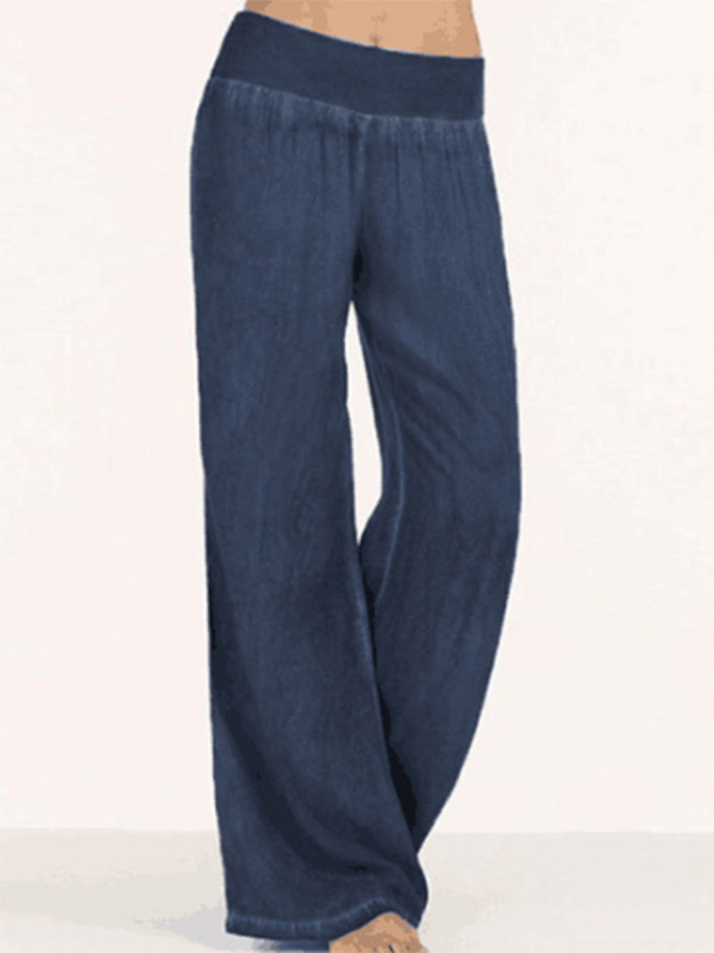 Casual Elastic Waist Wide-Length Full-Length Denim Pants