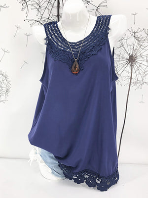 Lace Sleeveless Solid Women Vest