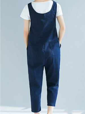 Spring Frog Solid Women Cotton/Linen Crop Jumpsuits