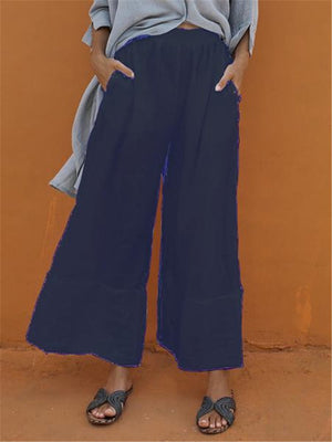 Simple Adjustable Waist Linen/Cotton Crop Length Wide-Legged Pants