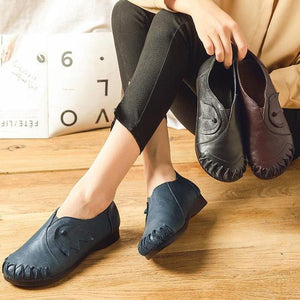 Women's Casual Split Joint Loafer Leather Shoes
