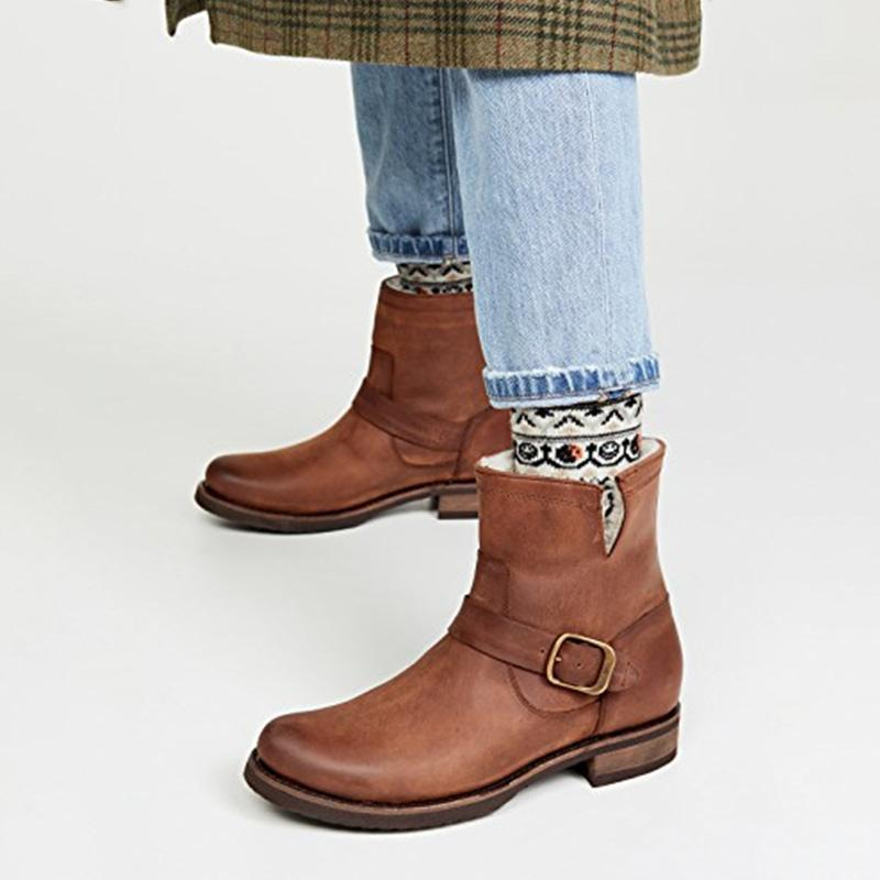 Brown/Black Fleece Liner Buckle Boots