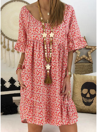Dense Flower Print Vintage Women Dress