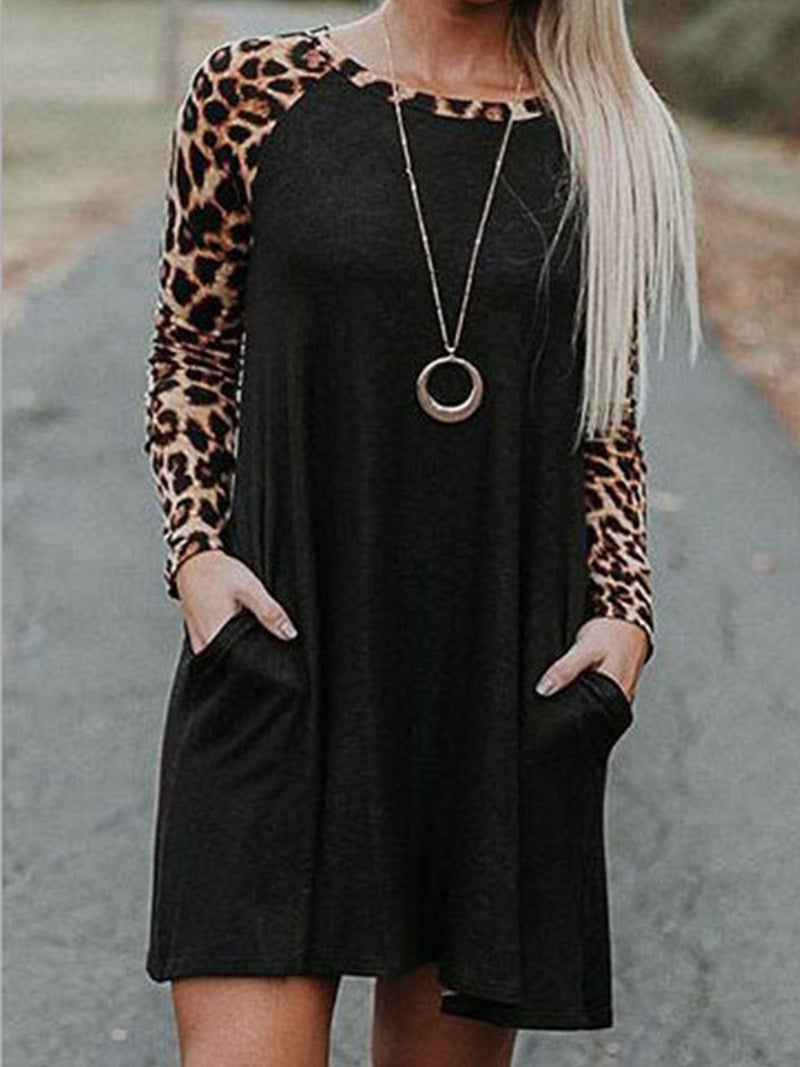 Black Round Neck Leopard-Print Casual Dresses
