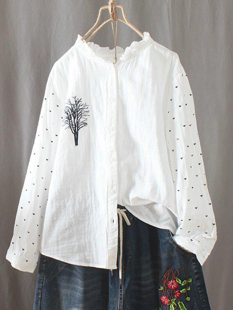 White Casual Printed Cotton Shirts & Tops