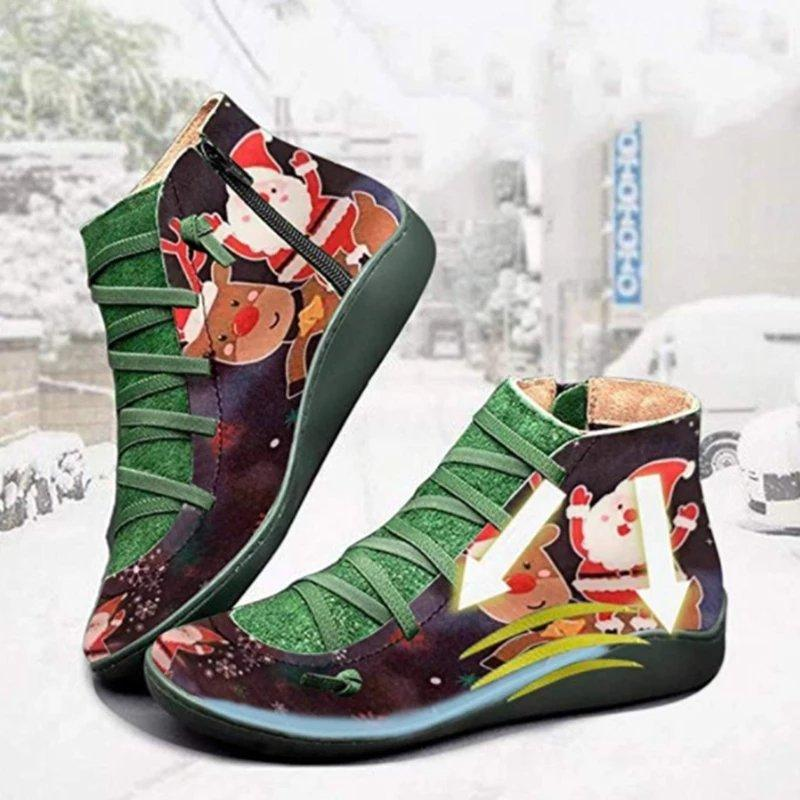 Christmas Women Ankle Boots Printed Flat Heel Round Toe Zipper Party Booties Shoes