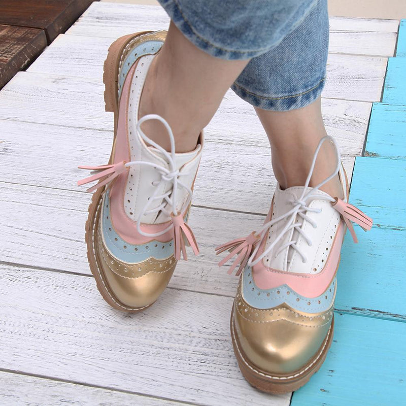 Brogue Style Color Block Sequin Lace-Up Shoes
