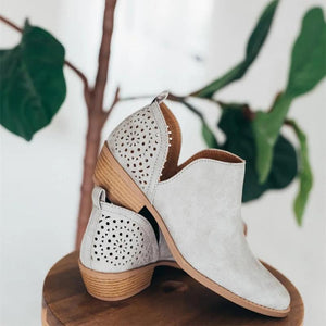 Laser Cut Hollow Ankle Slip-On Low Heels Point Toe Boots