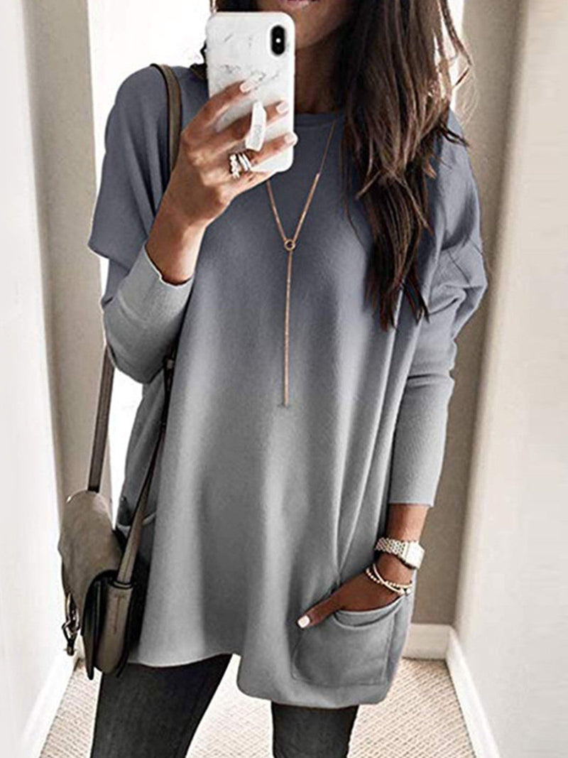 Plus Size Gradient Print With Pocket Long T-Shirt