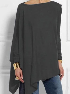 Solid Round Neck Long-Sleeved Asymmetric Casual Loose T-Shirt