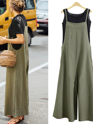 Women Loose Spaghetti Strap Wide-leg Casual Jumpsuits