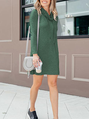 Long Sleeve Heaps Collar Drawstring Neck Midi Sweatshirt Dress