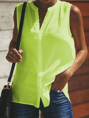 Stand Collar Sleeveless Women Button-Down Tank Top