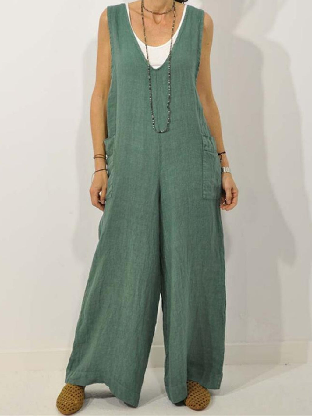 V Neck Cotton Shoulder Strap Full-length Jumpsuits