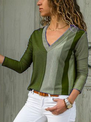 V Neck Color Collision V Neck Long-Sleeved Casual Blouse