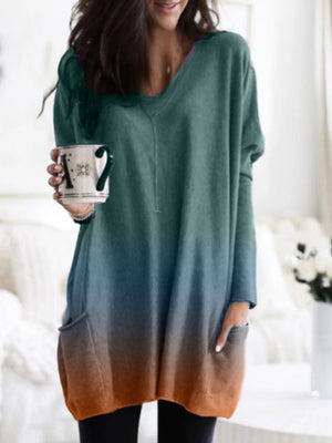 Plus Size Gradient V Neck With Pocket Casual Long Blouse