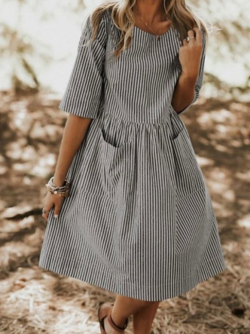 Pin Stripe Pocket Loose Casual Women Dress