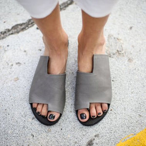 Solid Fashion Design Flip Flop Asymmetric Sandals