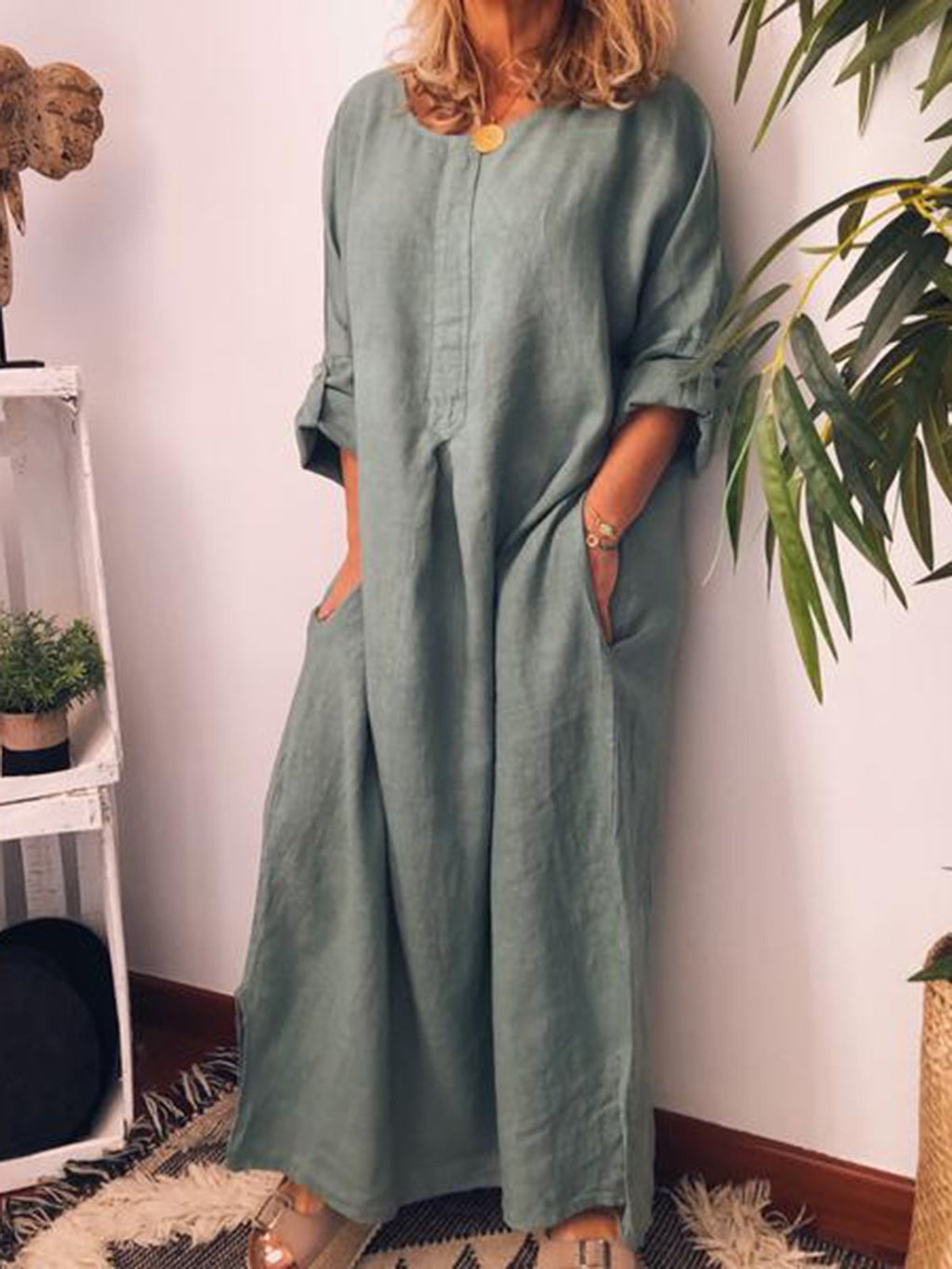 Long Sleeve Solid Linen/Cotton Maxi Slit Dress