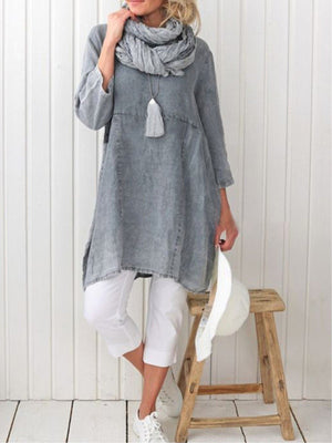 Solid Linen/Cotton Women Extra-long Blouse