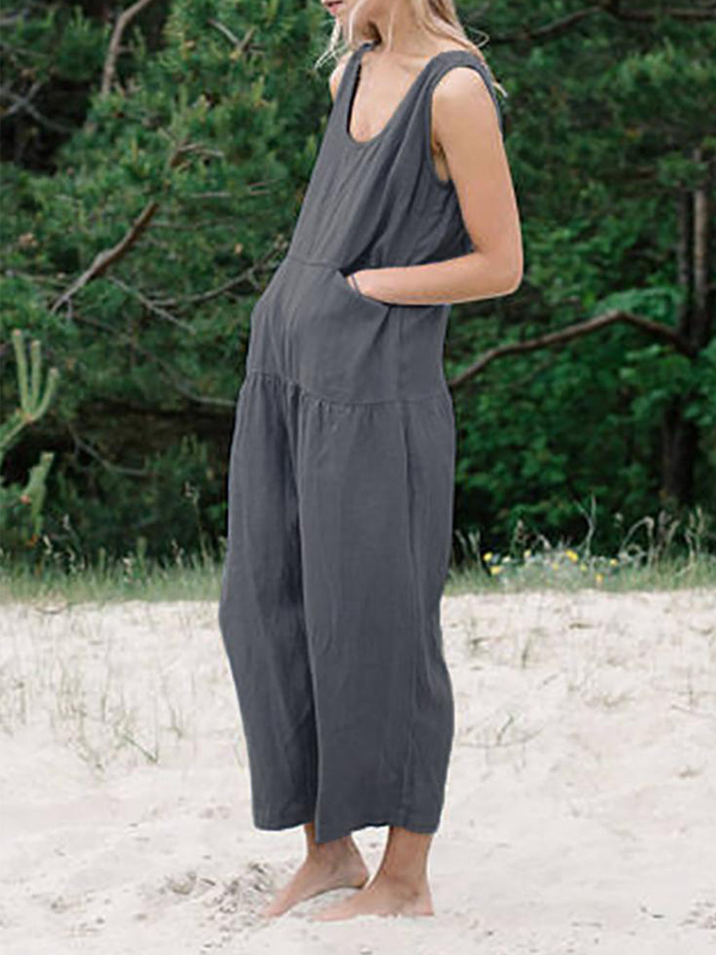 Plain Strap Shoulder Pocket Linen/Cotton Jumpsuits
