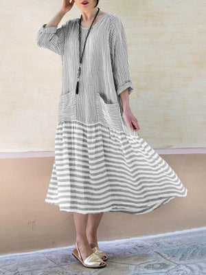 Summer Crew Neck Stripe Paneled Dress