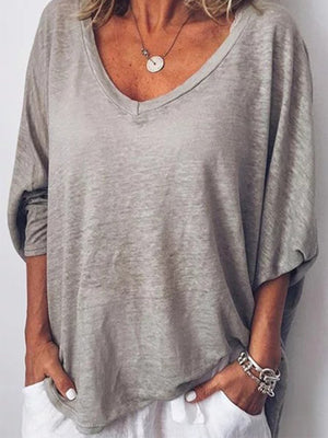 Bagged V Neck Batwing Sleeve Tee