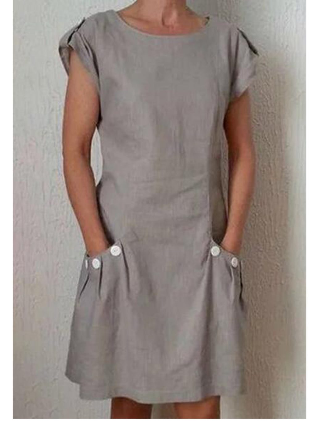 Shoulder Loop Solid Pocket Contrast Button Dress