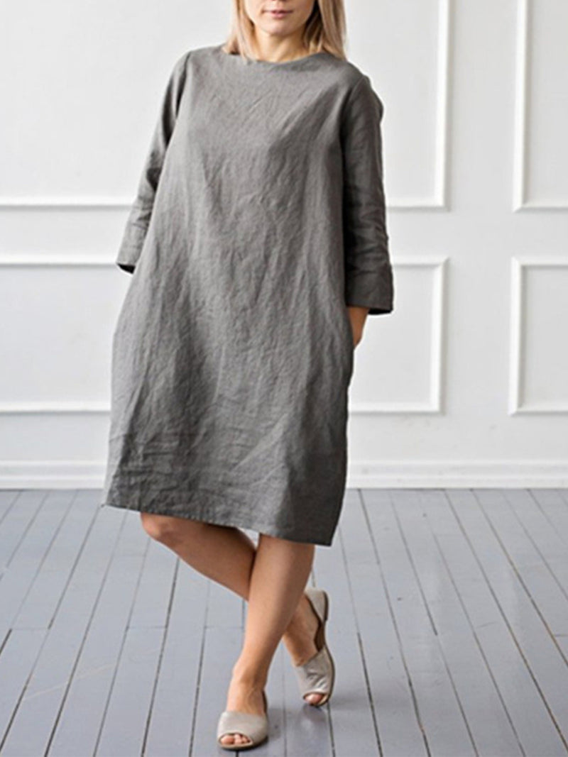 Pure Color Loose A-line Crop Sleeve Round Neck Dress