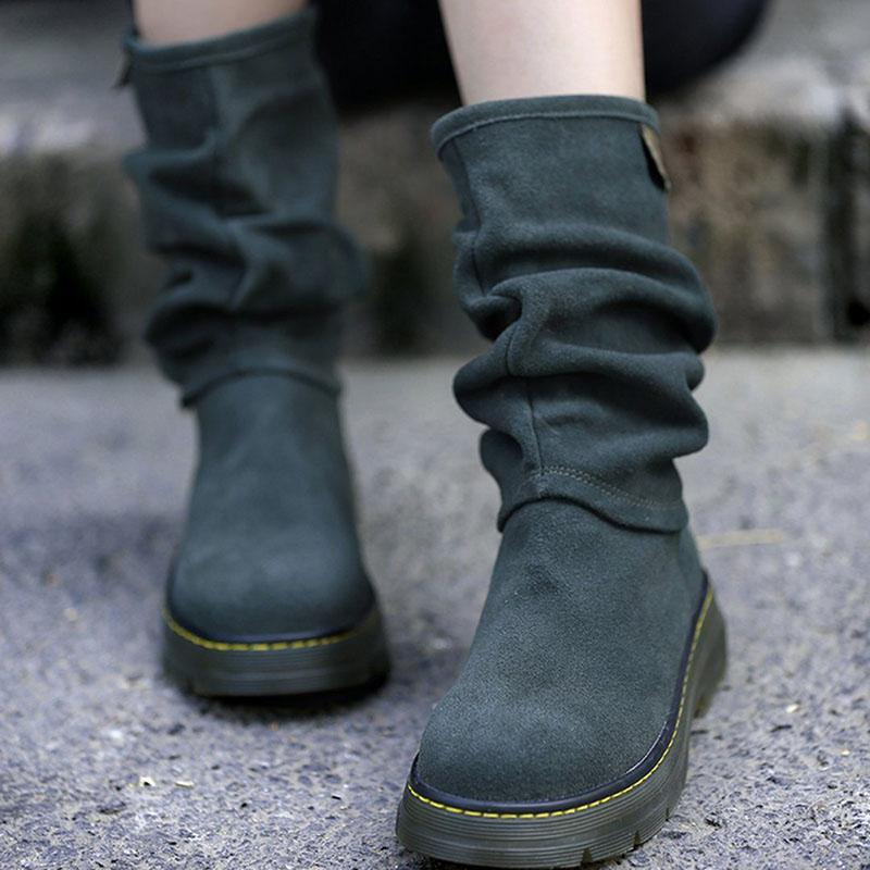 Womens Suede Daily Low Heel Boots