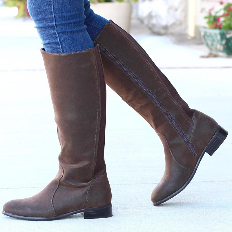 Faux Leather Side Zipper Chunky Heel Fall Knee Boots