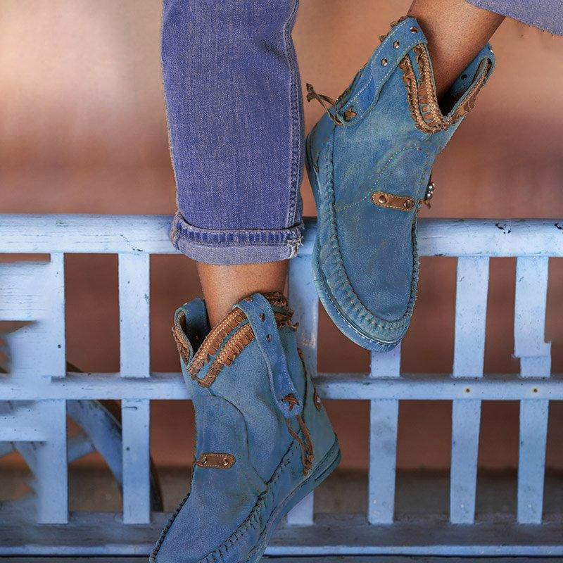 Blue Spring/fall Faux Suede Boots