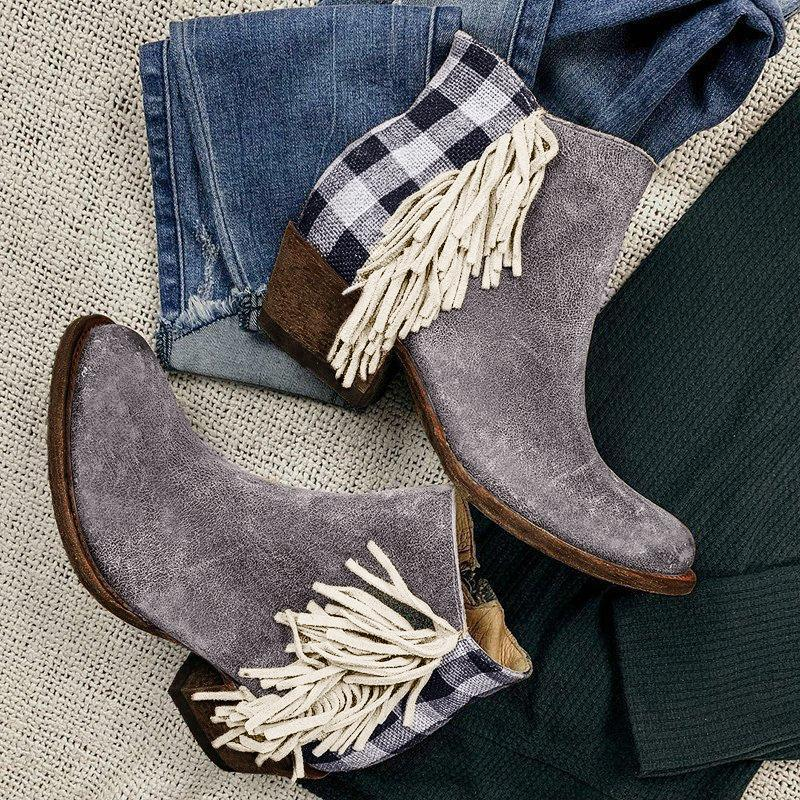 Retro Tassel Side Checked Back Zipper Chunky Heel All Season Booties