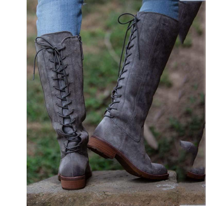 Low Heel Zipper Winter Artificial Leather Boots Knee-High Boots