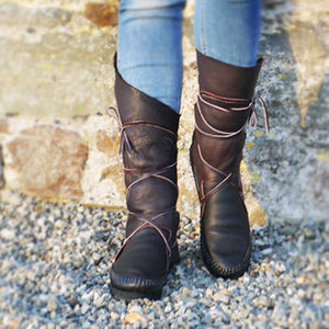 Black-Brown Flat Heel Daily Split Joint Winter Boots