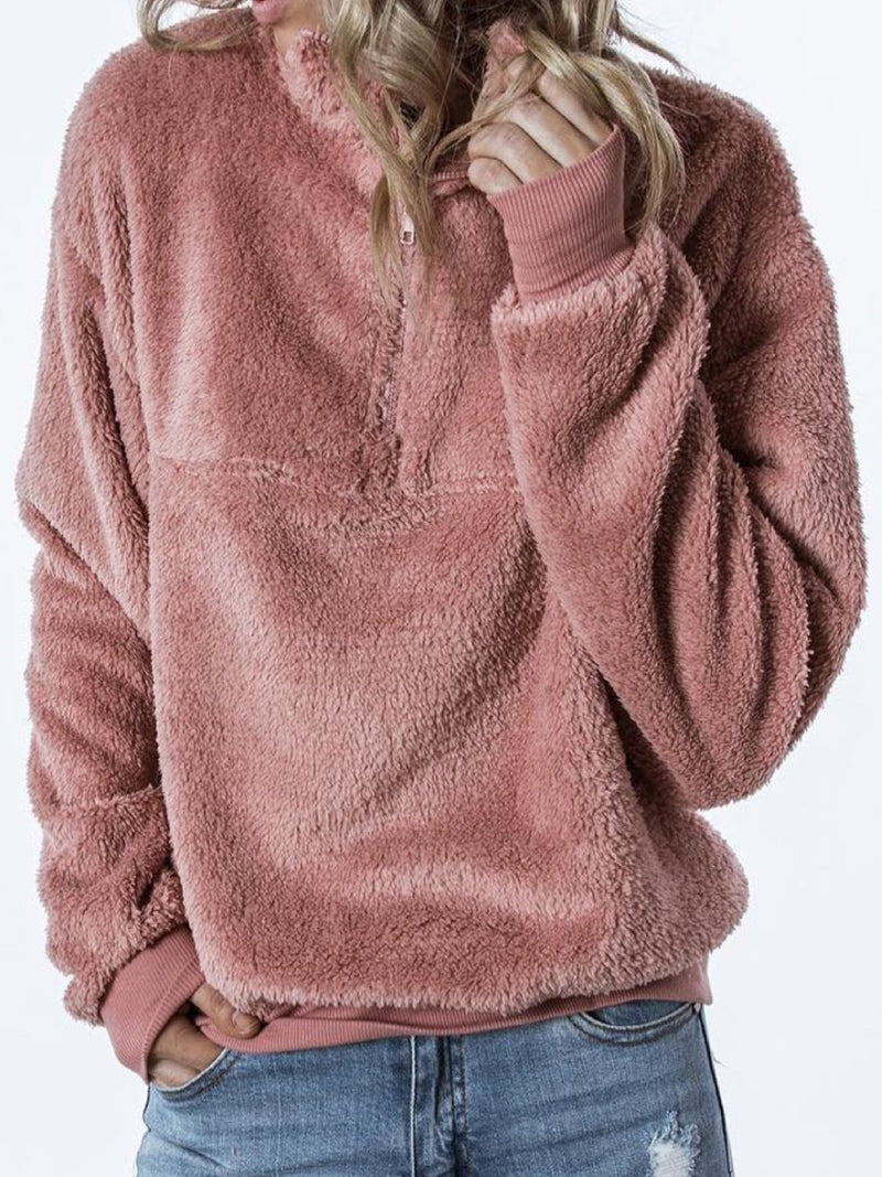 Deep Pink Solid Casual Zipper plus size Outerwear