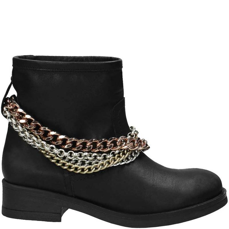 Black Soild Chain Boots