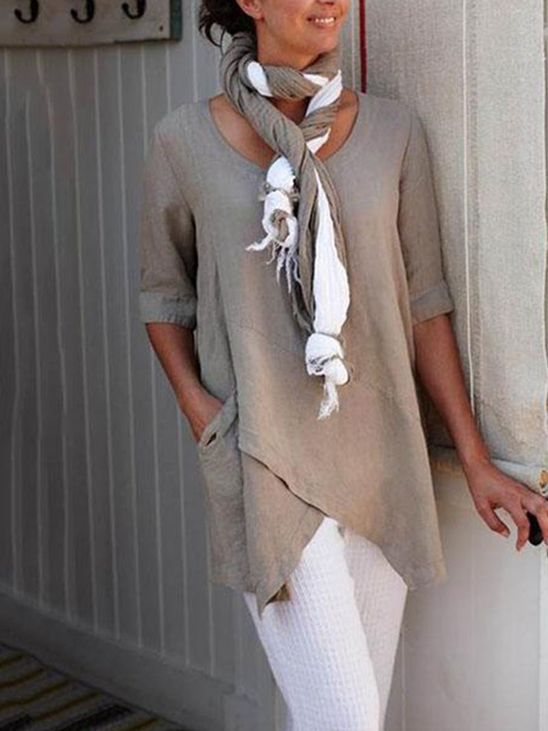 Solid Khaki Long Sleeve Casual Round Neck 1/2 Sleeve Shir