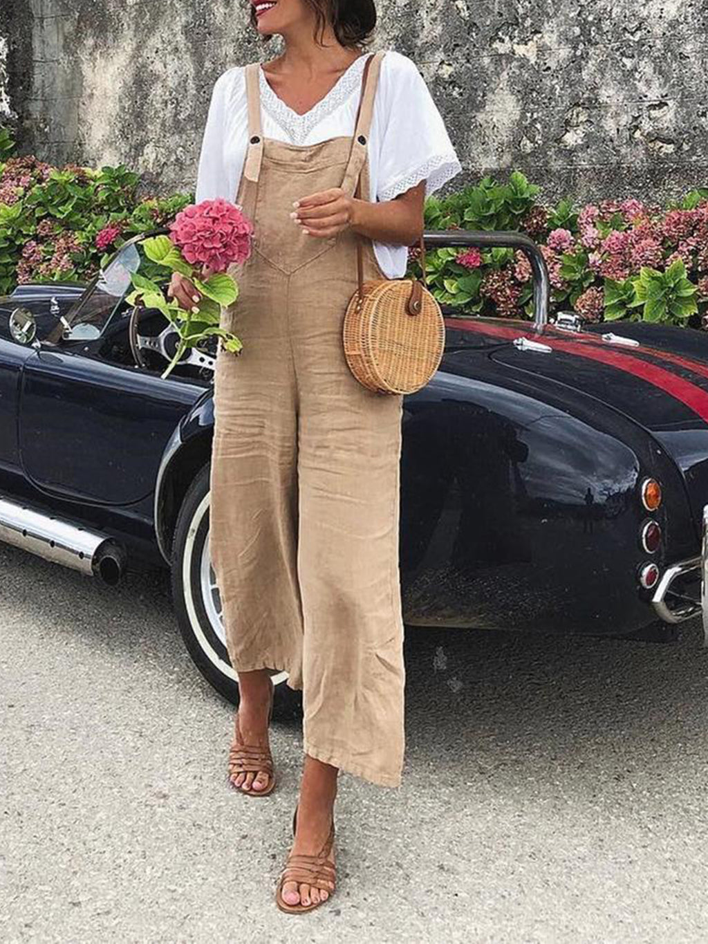 Women Solid Suspender Jumpsuits