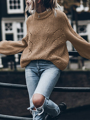 Solid Turtle Neck Long-Sleeved Hollow Loose Sweater
